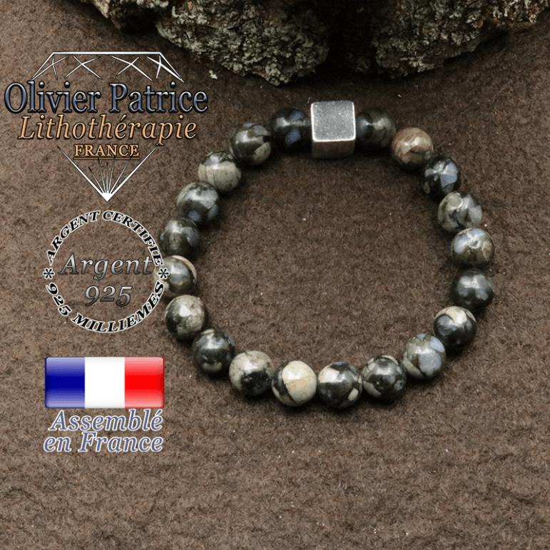 bracelet surmonte de son cube en argent 925 et en pierre naturelle opale grise