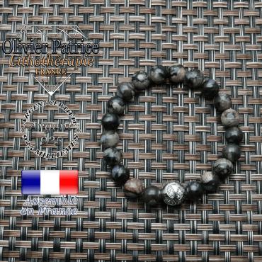 Bracelet opale grise et boule feuilles gravées en argent 925