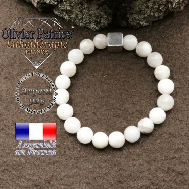 Bracelet agate grise et petit cube 8 mm en argent 925