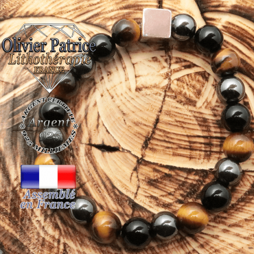Bracelet de protection messieurs avec son cube argent 925 en 10 mm et obsidienne, oeil de tigre, hématite naturelles 10 mm