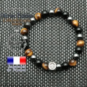 bracelet cube croix en argent 925 et ses pierres naturelles de protection oeil de tigre, obsidienne et hematite