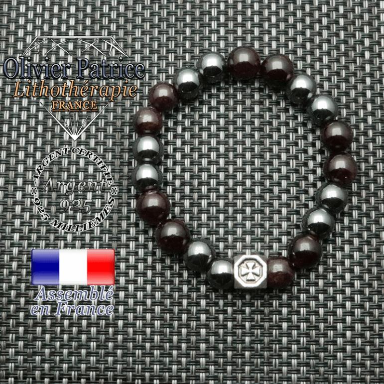 Bracelet anti fatigue en grenat et hematite naturelle et cube croix des templiers en argent 925