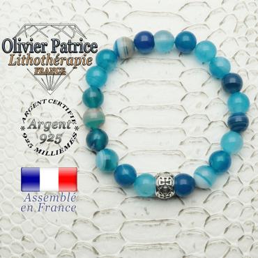 Bracelet agate à bandes bleues naturelles et boule croix templier en argent 925