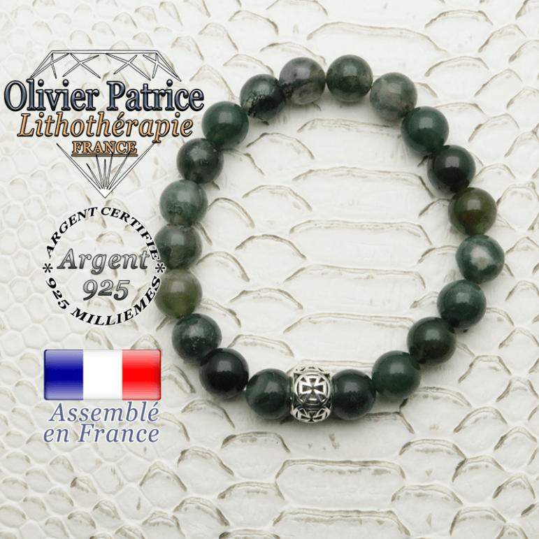 Bracelet en agate mousse naturelle et sa boule croix templier en argent 925