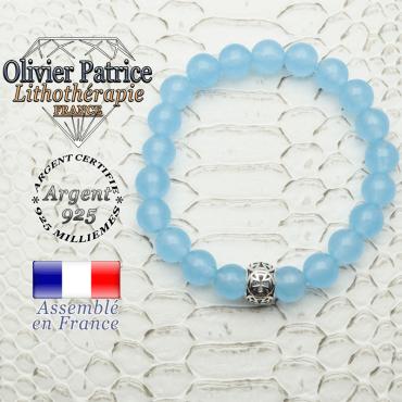 Bracelet en agate bleue naturelle et boule croix templier en argent 925