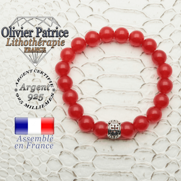 Bracelet en agate rouge naturelle et sa boule croix templier en argent 925