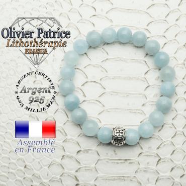 Bracelet en pierre naturelle aigue marine et boule croix templier en argent 925 gravée