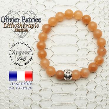 Bracelet en aventurine orange naturelle doté d'une boule croix templier argent 925