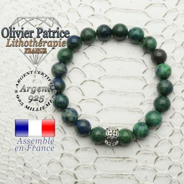 Bracelet en azurite malachite naturelle en perles de 8 mm et sa boule croix templier en argent 925