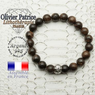 Bracelet de perles naturelles de bronzite de 8 mm avec sa boule croix templier argent 925