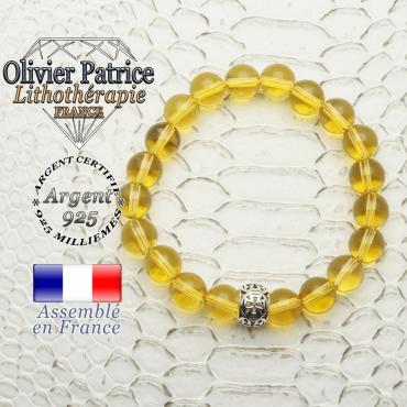 Bracelet de citrine naturelle doté d'une boule templier croix en argent 925