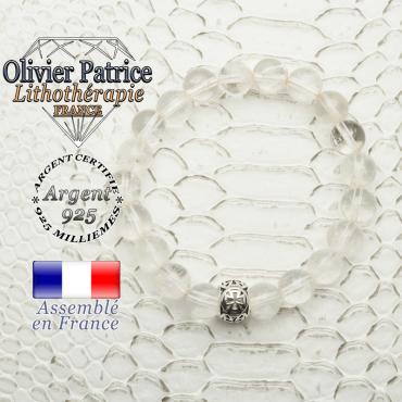 Bracelet en cristal de roche naturel avec sa boule croix templier en argent 925