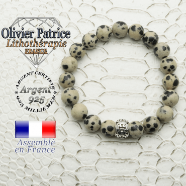 Bracelet jaspe dalmatien naturel et boule croix templier en argent 925