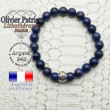 Bracelet de lapis lazuli avec une boule croix templier en argent 925 de 7 x 10 mm