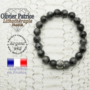 Bracelet en pierre naturelle de larvikite et sa boule croix templier en argent 925