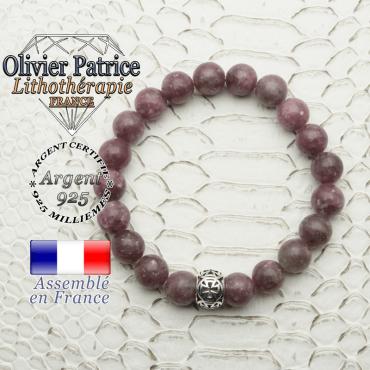 Bracelet en pierre naturelle de lépidolite et sa boule croix templier en argent 925