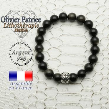 Bracelet en pierre naturelle d'obsidienne dorée et sa boule croix templier en argent 925