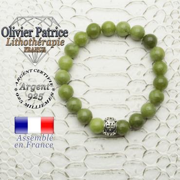 Bracelet jade néphrite du Canada naturel monté sur une boule croix templier argent 925
