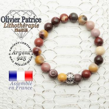 Bracelet jaspe mokaïte naturel monté sur une boule en argent 925 en forme de croix de templier