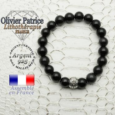 Bracelet obsidienne œil céleste naturelle avec son apprêt boule croix templier en argent 925