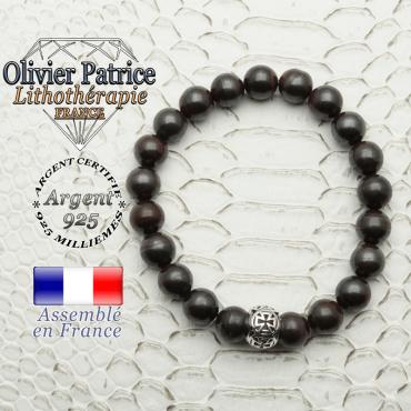 Bracelet oeil de fer naturel avec sa boule croix templier en argent 925