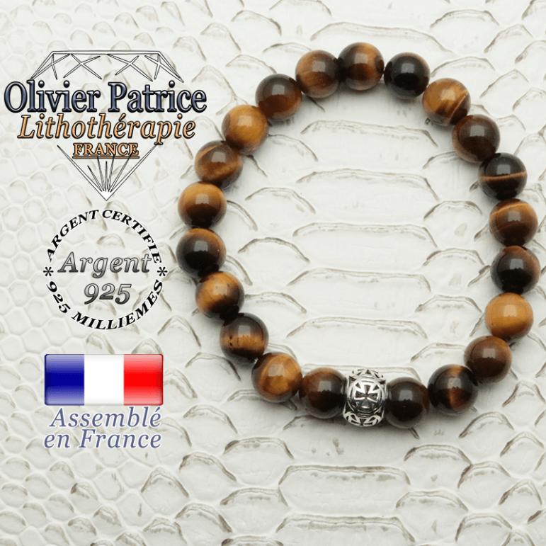 Bracelet oeil de tigre naturel avec sa boule croix templier en argent 925