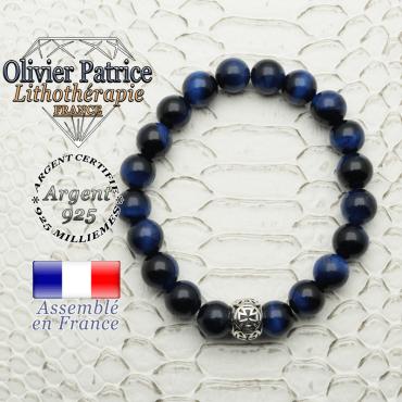 Bracelet oeil de tigre teinte bleue avec sa boule croix templier en argent 925