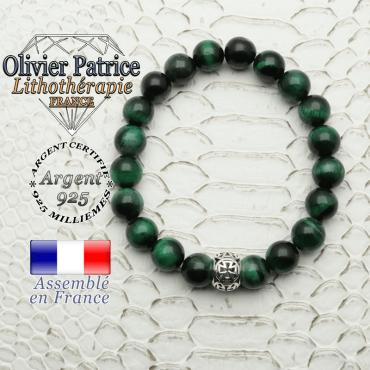 Bracelet oeil de tigre teinte verte avec sa boule croix templier en argent 925