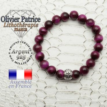 Bracelet oeil de tigre teinte violette avec sa boule croix templier en argent 925