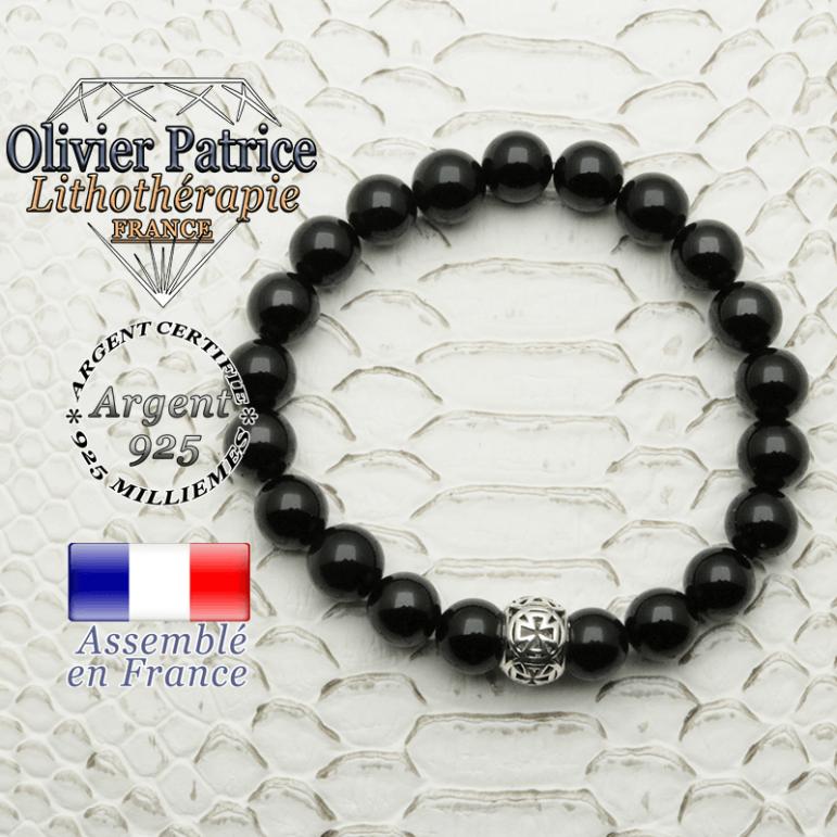 Bracelet onyx naturel avec sa boule croix templier en argent 925