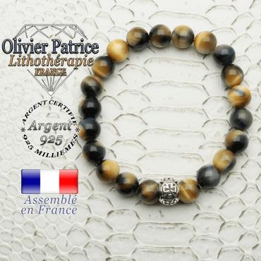 Bracelet oeil de faucon - tigre bleu naturel et boule croix de templier en argent 925