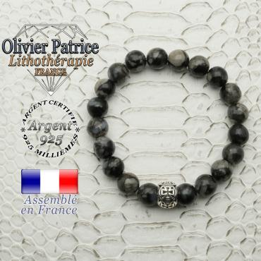 Bracelet opale grise naturelle et sa boule croix de templier en argent 925