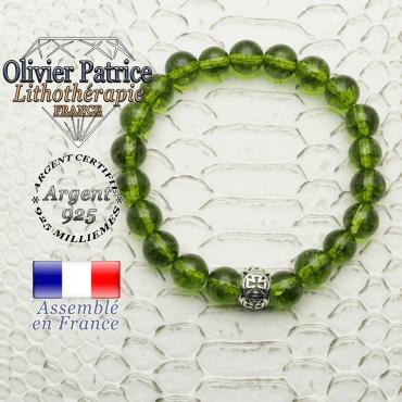 Bracelet péridot naturel et sa boule croix de templier en argent 925