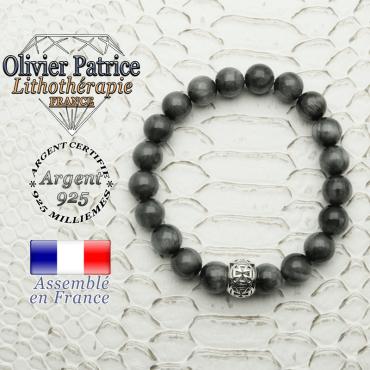 Bracelet pierre d'aigle et son apprêt argent 925 en forme de croix templier