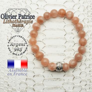 Bracelet pierre de soleil et son apprêt argent 925 en forme de croix templier