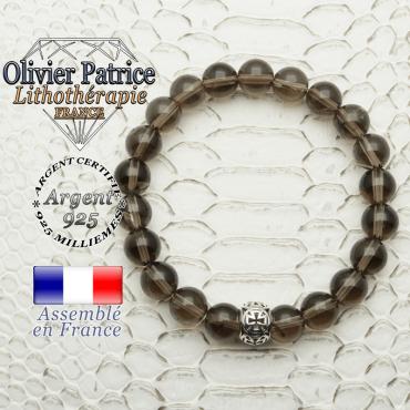 Bracelet quartz fumé naturel et son apprêt argent 925 boule croix de templier