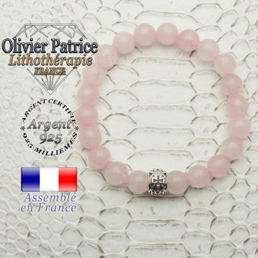 Bracelet quartz rose naturel et son apprêt argent 925 boule croix de templier