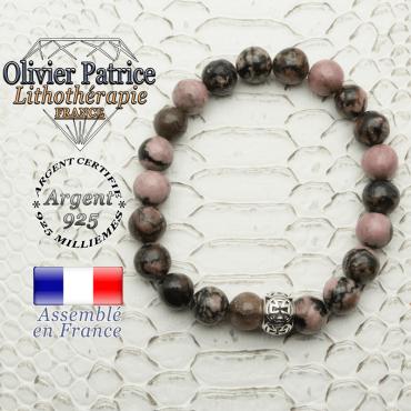 Bracelet rhodonite naturel et son apprêt argent 925 boule croix de templier