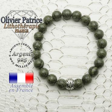 Bracelet serpentine et sa croix templier en argent 925