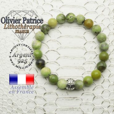 Bracelet turquoise africaine et boule croix templier en argent 925