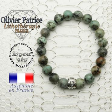 Bracelet turquoise bleue africaine et boule croix templier en argent 925