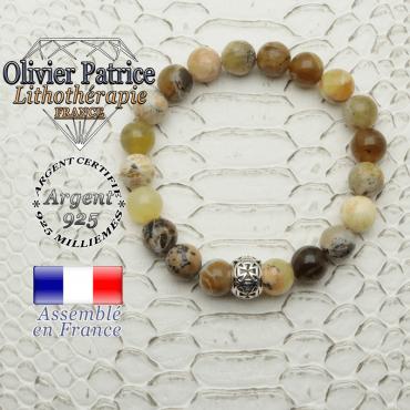 Bracelet opale jaune africaine naturelle de 8 mm et boule croix templier en argent 925