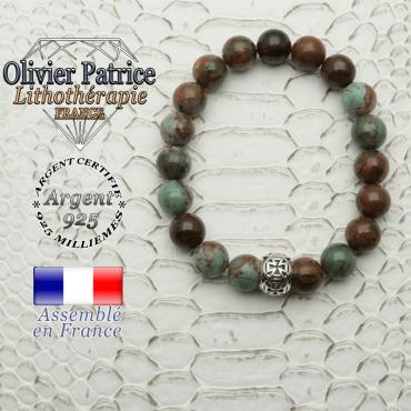 Bracelet opale verte africaine, pierre naturelle de 8mm, avec boule croix templier en argent 925