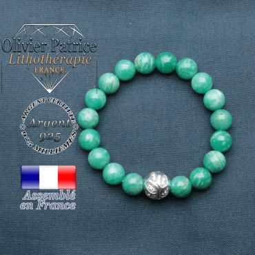 Bracelet surmonté de sa boule gravée de feuilles en argent 925 en pierre naturelle en amazonite de russie