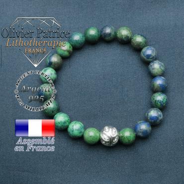 Bracelet surmonté de sa boule gravée de feuilles en argent 925 en pierre naturelle en azurite malachite