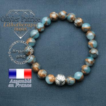 Bracelet surmonté de sa boule gravée de feuilles en argent 925 en pierre naturelle en bornite