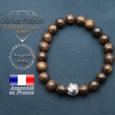 Bracelet surmonté de sa boule gravée de feuilles en argent 925 en pierre naturelle en bronzite