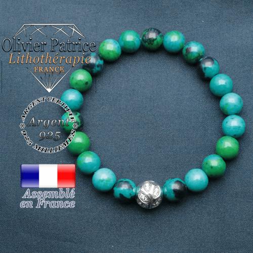 Bracelet surmonté de sa boule gravée de feuilles en argent 925 en pierre naturelle en chrysocolle