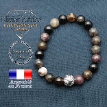 Bracelet surmonté de sa boule gravée de feuilles en argent 925 en pierre naturelle en tourmaline elbaite
