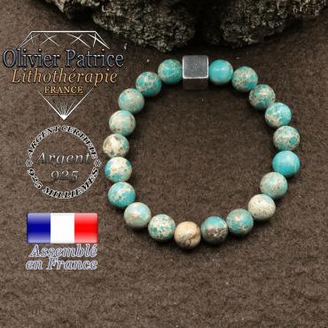 Bracelet surmonté de son cube en 8mm en argent 925 en pierre naturelle en agate dentelle